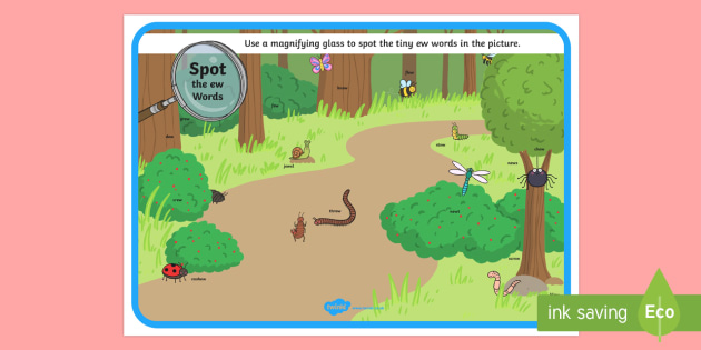 Phase 5 ew Words Minibeasts Scene Magnifying Glass Activity Sheet - phonics, letters and sounds, phase 5, ew sound, magnifier, magnifying glass, find, activity, group,