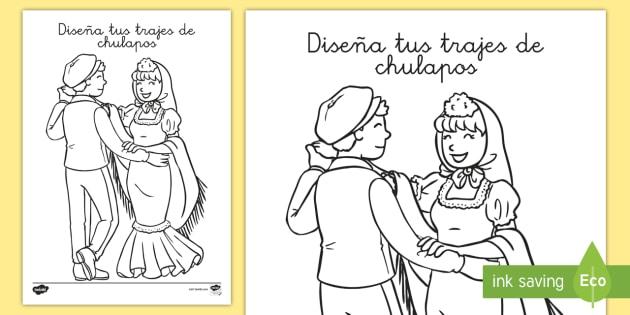 Hoja de colorear: Chulapos   San Isidro, fiestas regionales, hojas de