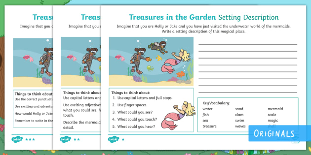 Treasures in the Garden Mermaid Setting Description Worksheet /