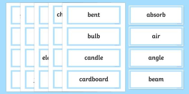 Light Shows Word Wall Display Cards - australia, Australian Curriculum, Light Shows, science, Year 5, word wall, display