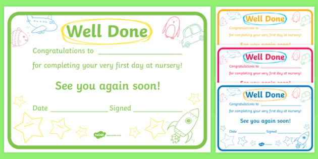 First Day Award Certificates Nursery First Day Award Scroll Reward