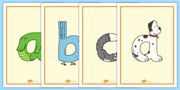 Lowercase Animal Alphabet Display Posters - lowercase, animal, alphabet, display posters, display, posters
