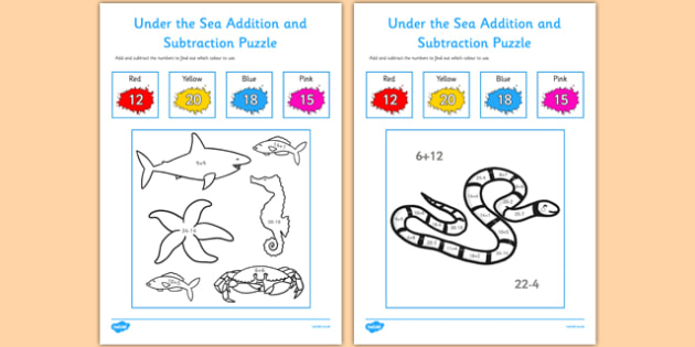 Under the Sea Theme Addition and Subtraction Puzzle 0-35 - under the sea, addition, subtraction, puzzle
