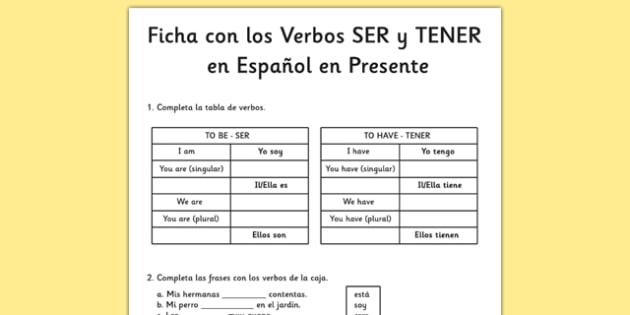 Ficha Verbos Ser Estar y Tener en presente simple en espa ol – Ser and Estar Worksheets