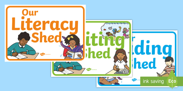 Literacy Writing And Reading Shed Display Posters