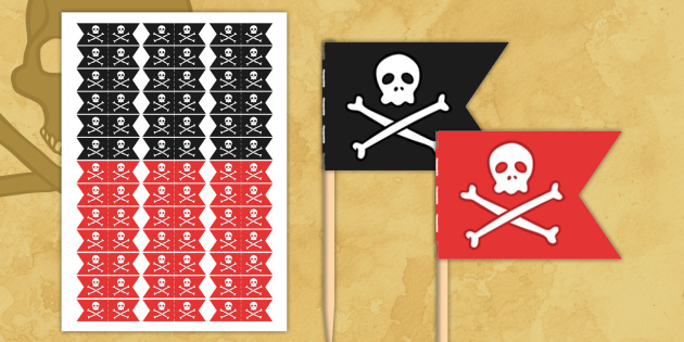 photo relating to Pirate Flag Printable known as Pirate Themed Birthday Bash Toothpick Flags - birthdays