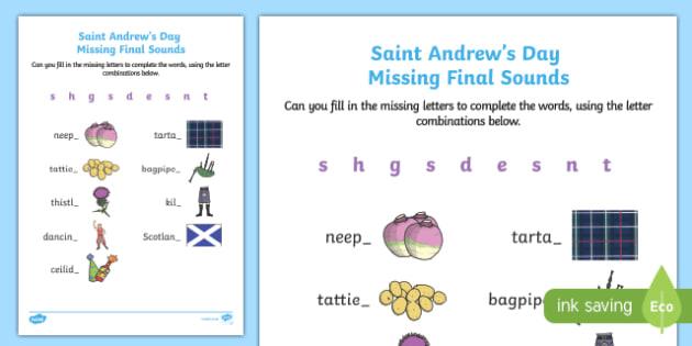 Saint Andrew's Day Missing Final Sounds Activity Sheet-Scottish, worksheet