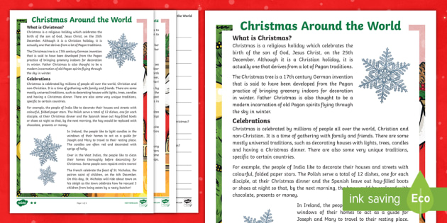 Christmas Around The World Worksheets.Christmas Around The World Christmas Reading Comprehension