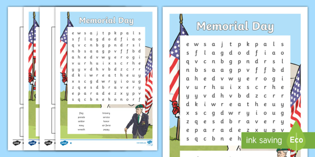 Memorial Day Word Search - Memorial Day, world war, remember, remembrance, activity, war,
