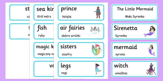 The Little Mermaid Word Cards Polish Translation - polish, the little mermaid, word cards, word, cards