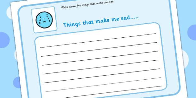 5 Things That Make You Sad Writing Frame - feelings, emotions, SEN