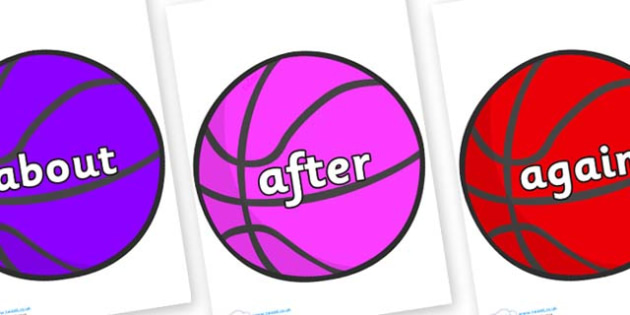 KS1 Keywords on Basketballs - KS1, CLL, Communication language and literacy, Display, Key words, high frequency words, foundation stage literacy, DfES Letters and Sounds, Letters and Sounds, spelling
