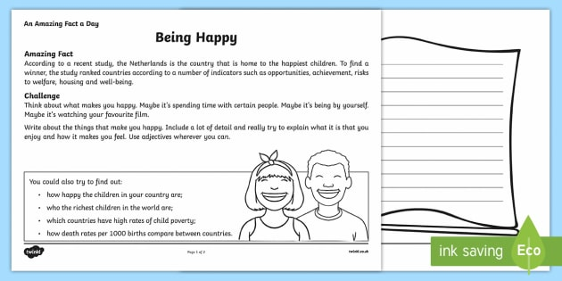 Being Happy Activity Sheet - Amazing Fact Of The Day, activity sheets, powerpoint, starter, morning activity, December , being ha