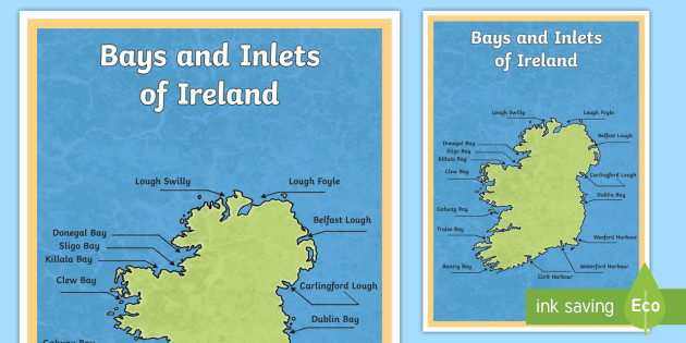 Large Map Of Ireland.Bays And Inlets Of Ireland Large Display Poster Ireland Geography