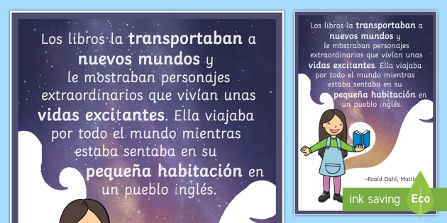 The Books Transported Her Matilda Motivational Poster - Spanish