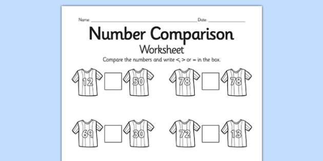 footall number comparison worksheet differentiated football