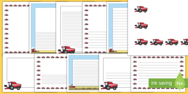 Big Red Combine Harvester Page Border Pack
