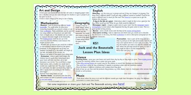 Jack and the Beanstalk Lesson Plan Ideas KS1 - lesson ideas, KS1