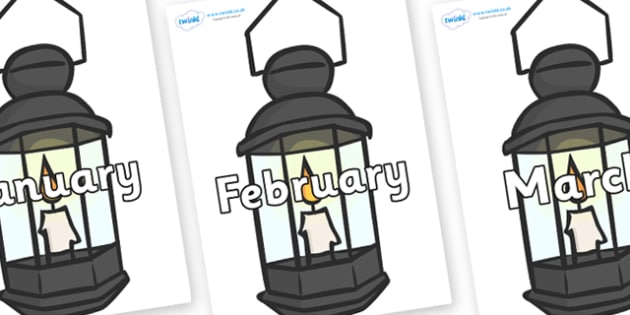 Months of the Year on Lamps - Months of the Year, Months poster, Months display, display, poster, frieze, Months, month, January, February, March, April, May, June, July, August, September