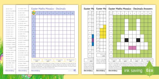 Easter Maths Mosaic Worksheet / Worksheets