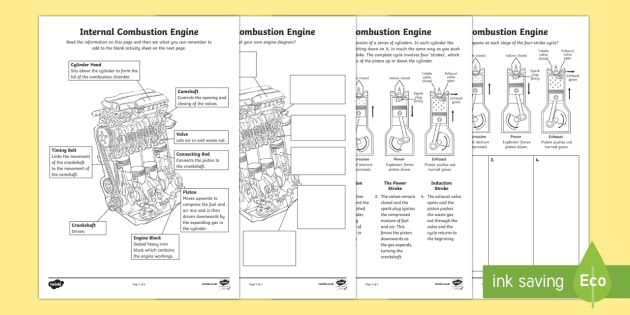 internal combustion engine how it works worksheet activity rh twinkl co uk