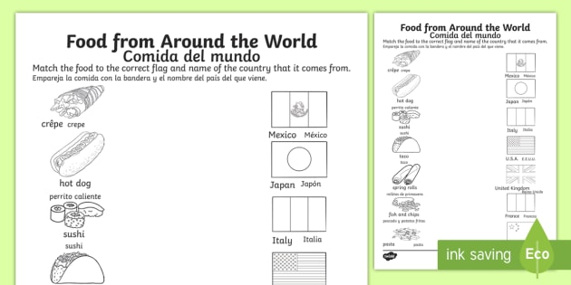 Food from around the world matching worksheet activity sheet food from around the world matching worksheet activity sheet englishspanish worksheet ibookread Download