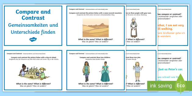 Guided Reading Skills Task Cards Compare and Contrast English/German