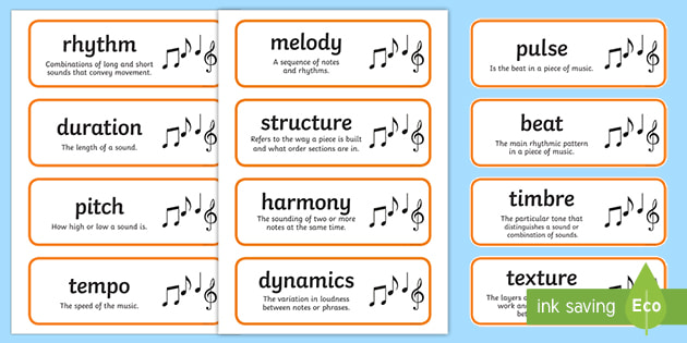 Editable Music Elements Cards