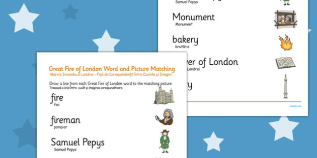 The Great Fire of London Word and Picture Matching Worksheet Romanian Translation - romanian