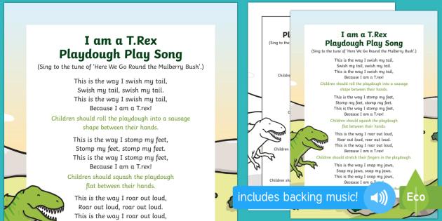 I am a T Rex Playdough Play Song - EYFS, Early Years