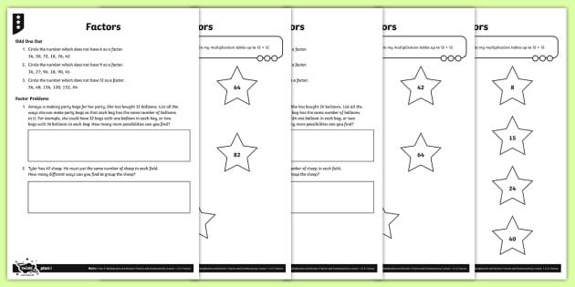 Factor Pairs Activity Sheets