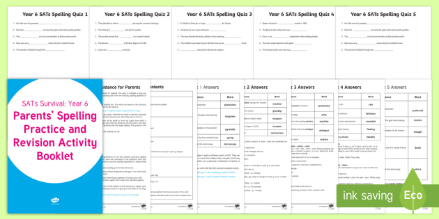Sats Survival Year 6 Parents Spelling Practice And Revision