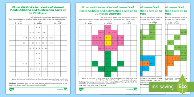 KS1 Plants Addition And Subtraction Facts Up To 20 Maths Mosaic Worksheets