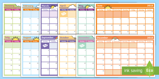 2018 Monthly Calendar Planning Template Monthly Calendar