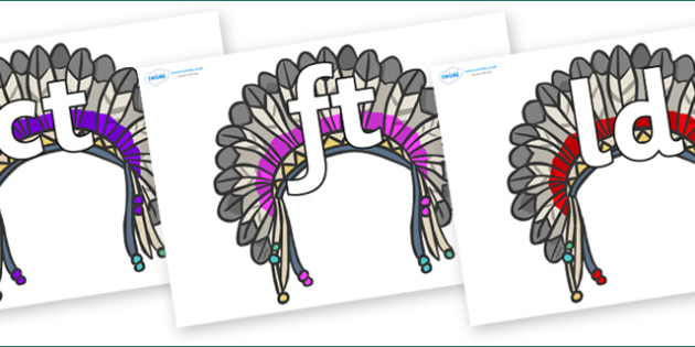 Final Letter Blends on Headdresses - Final Letters, final letter, letter blend, letter blends, consonant, consonants, digraph, trigraph, literacy, alphabet, letters, foundation stage literacy