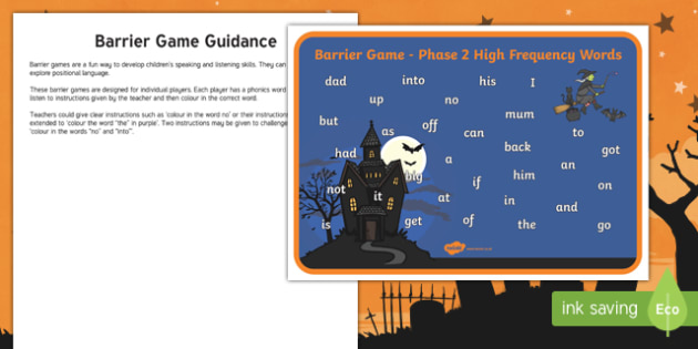 Halloween Themed Phase 2 High Frequency Words Barrier Game Activity Sheet
