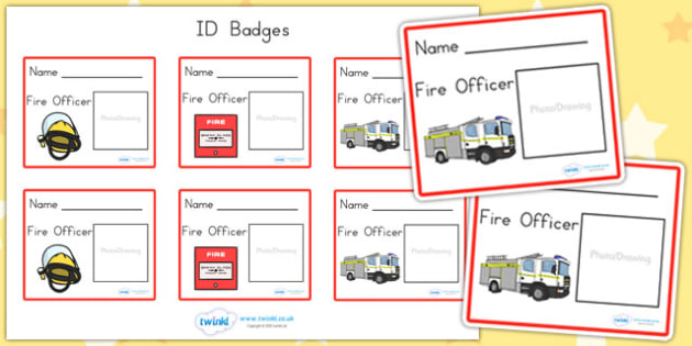 Fire Fighter Role Play Badges - fire station role play, props