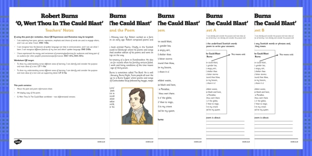 Scots Poetry - Robert Burns: O Wert Thou In The Cauld Blast - cfe, curriculum for excellence