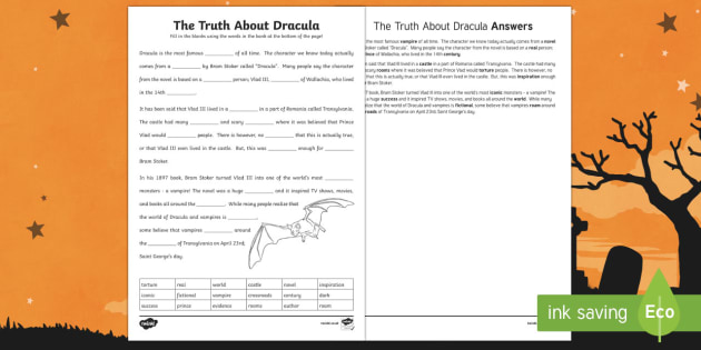 The Truth About Dracula Fill in the Blanks Worksheet / Activity Sheet
