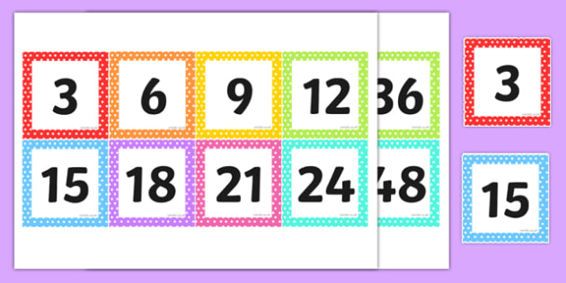 Multiples of 3 on Square Number Cards - multiples of 3, square, number cards