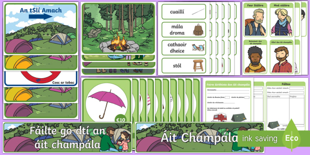 The Campsite Aistear Display Pack Gaeilge - Infants, English Oral Language, Áit champála, Irish, holiday, tent, campfire,