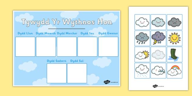 Tywydd Yr Wythnos Hon - cymraeg, weather, weather calendar, weekly weather calendar, weakly weather chart, weekly weather display, this weeks weather