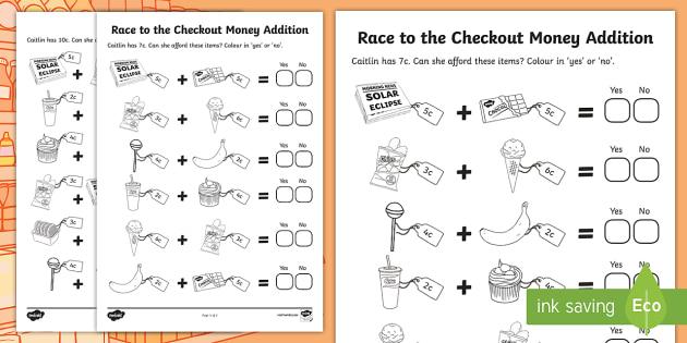 race to the checkout money addition worksheet worksheet roi euro cent. Black Bedroom Furniture Sets. Home Design Ideas