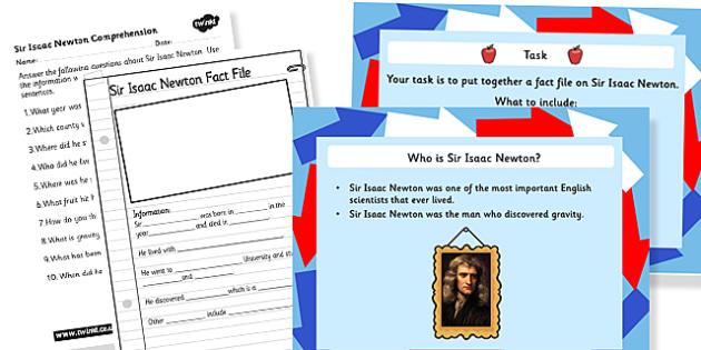 Sir Isaac Newton Gravity Task Setter Powerpoint and Worksheets - sir isaac newton, isaac newton, gravity, tasks, powerpoint, worksheets, gravity powerpoint