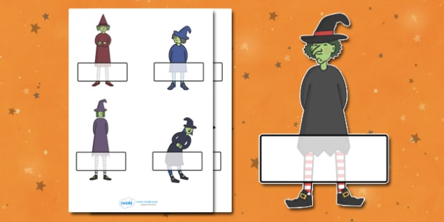 Editable Halloween Witches Self-Registration - Halloween, pumpkin, witch, bat, scary, black cat, Self registration, register, editable, labels, registration, child name label, printable labels, mummy, grave stone, cauldron, broomstick, haunted house,