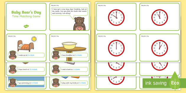 Baby Bear's Day - O'clock Time Matching Game - Time Matching