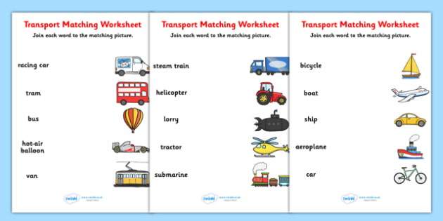 Transport Word and Picture Matching Worksheet - transport, match