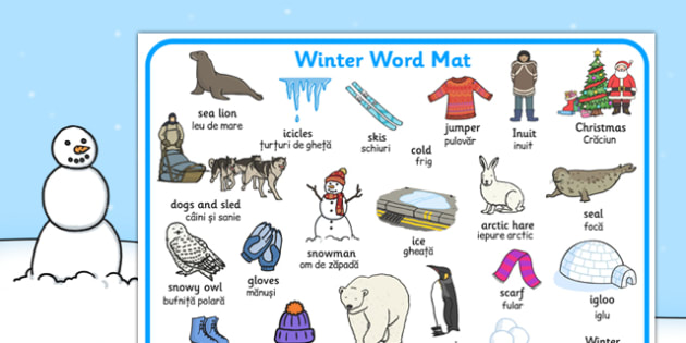 Winter Word Mat EAL Romanian Translation - romanian, winter