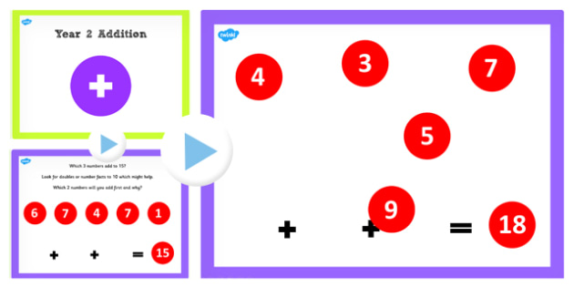 Year 2 Adding 3 1 Digit Numbers Lesson 5 PowerPoint - Which, Math