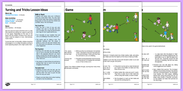 KS1 Football Skills 4 Turning Lesson Pack - football, PE, sport, exercise, KS1, year 1, year 2, skills, physical education, ball skills, team sports